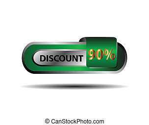 90 percent discount icon vector