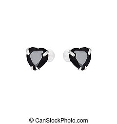 Earrings in the shape of heart isolated on white