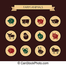 Set of flat design icons with farm animals - Set of vector...