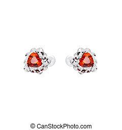 Earrings in the shape of heart