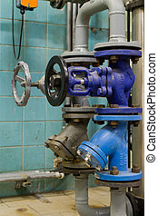 Pressure valves in gas boiler room