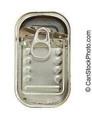 empty tin can - Image of the open empty can - empty tin can