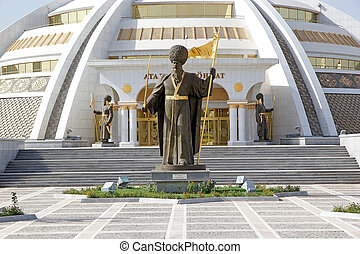 Turkmenistan - Sculptures at the Indipendence Monument in...