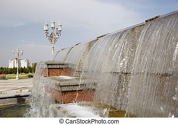 Turkmenistan - The fountain at the Independence park with...