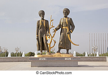 Turkmenistan - Sculpture of the ancient poets at the...