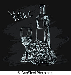 Bottle of wine, glass, grapes and snacks - Bottle of wine...