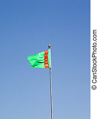 Turkmenistan - Flag of the Turkmenistan with blue sky in the...