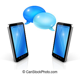 Speech bubbles and mobile phones - 3D Speech bubbles and...
