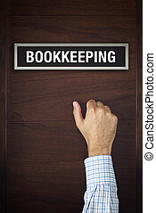 Businessman knocking on Bookkeeping office door looking for...