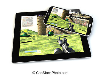 smartphone and tablet gaming - render of smartphone and...