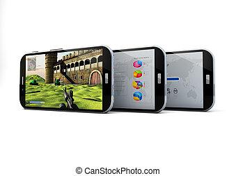 three smartphones - render of three smartphones with...
