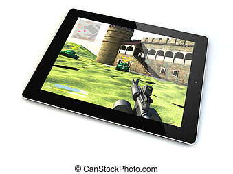 tablet gaming - render of a tablet with a shooter game on...