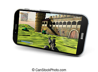 gaming smartphone - render of a smartphone with a game on...