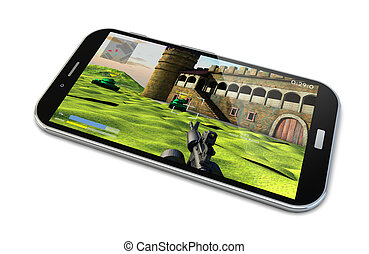 playing with the smartphone - render of a smartphone with a...