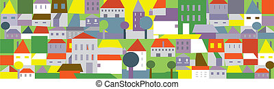 Funny town in summer - seamless background with trees