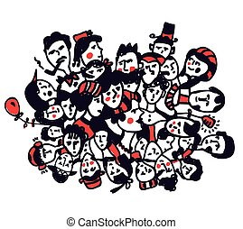 Groop of people - graphic concept with hand drawn design