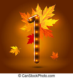 Glossy stylish sans serif lighted numeral 1 figure with falling maple leaves over warm caramel candy background. Autumn decorative concept