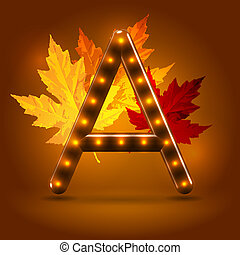 Glossy retro autumn lighted up abc - Glossy stylish sans...