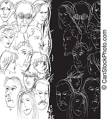 Different People - Hand drawn sketch of people faces on half...