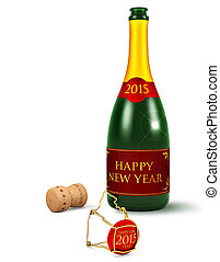 bubbly bottle and champagne cork isolated on white...