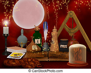 alchemy still life background - beautiful fantasy...