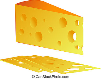 Cheese, isolated on white, vector