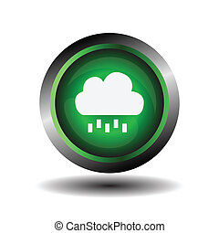 Green glossy button Cloud and rain