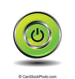 Green round button shut down icon