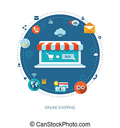 Illustration of flat design business composition with online...