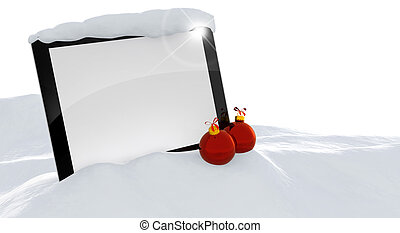 christmas ads - laptop and christmas balls in a snowdrift