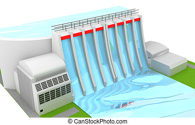 Power station - Illustration of Power hydro station isolated...