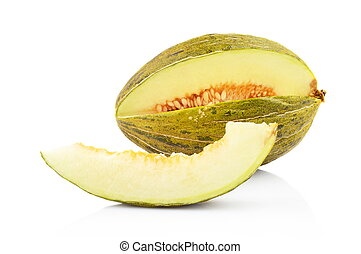 Piel de sapo green melon with slice isolated white - Studio...
