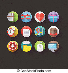 Textured Flat Icons Set 1 - Textured Flat Icons for mobile...