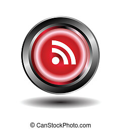 RSS feed icon on button vector