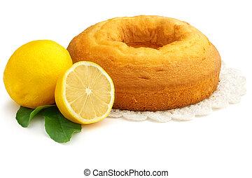 homemade lemon pie - homemade pie and lemons on white...