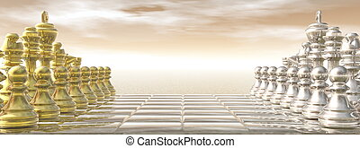 Chessboard - 3D render - Chessboard with golden and silver...
