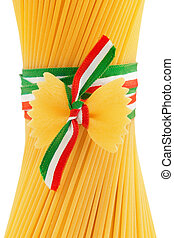 italian pasta - spaghetti and bow tie pasta tied by a...