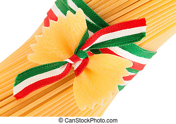 the art of italian pasta - spaghetti and bow tie pasta tied...