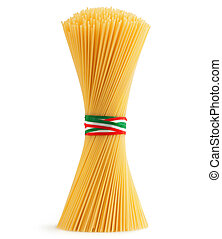 bunch of spaghetti tied by a tricolour strip