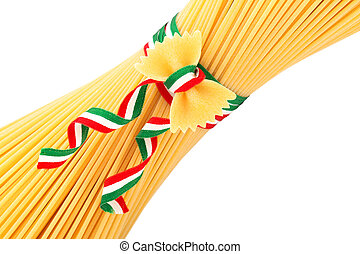 italian pasta - bunch of spaghetti and farfalle tied by a...