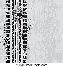 Tire track black - Grunge tire track background wuth ink...