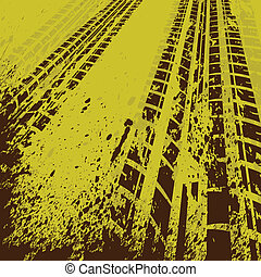 Yellow tire track background - Yellow grunge background with...
