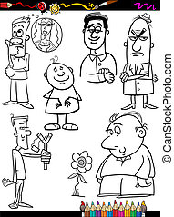 people set cartoon coloring page - Coloring Book or Page...