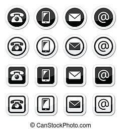 Contact icons in circle and square - Vector contact icons...