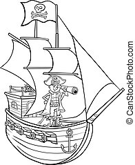 pirate on ship cartoon coloring page - Black and White...