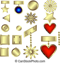 Abstract set of gold decorative products