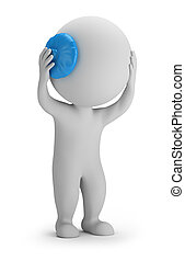 3d small people - ice pack - 3d small person holding his...