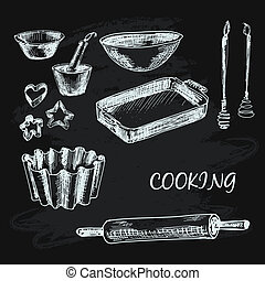 Cooking collection. Set of hand drawn illustrations