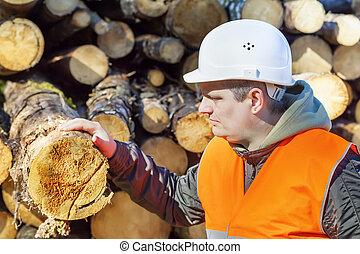 Lumberjack near logs in forest