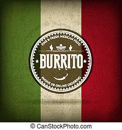 Burrito - Mexican Burrito Food - Retro Badge Vector